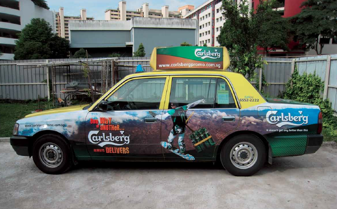 Tuborg effective outdoor taxi warp creative marketing