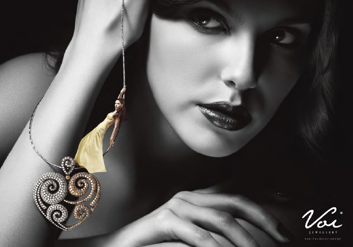 Voi Jewelry black and white marketing
